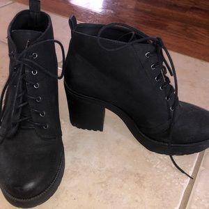 Bershka Lace up black heels boots